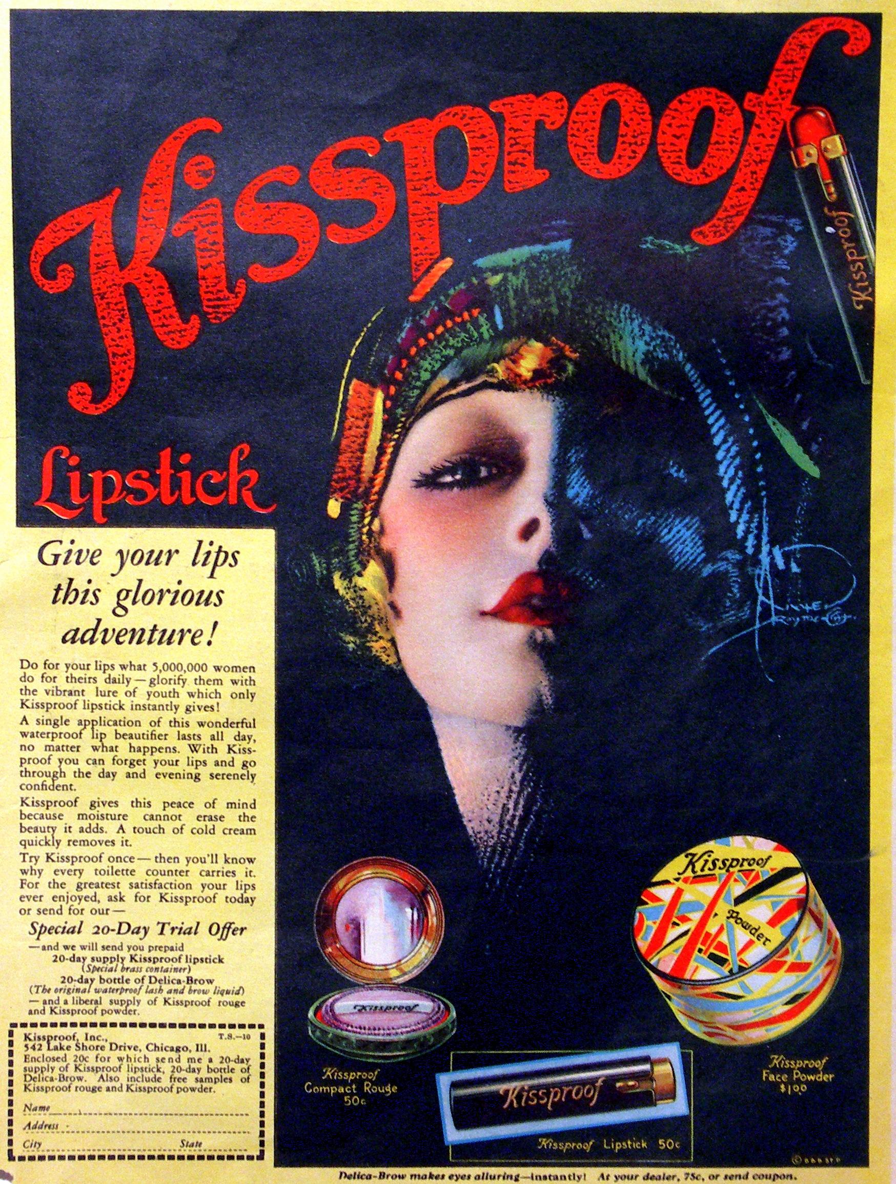 KISSPROOF 1929 Lipstick Ad